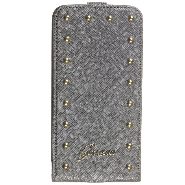 45a16da546 Guess - Etui luxe Guess rabat vertical studded collection gris clouté Samsung  Galaxy-S5
