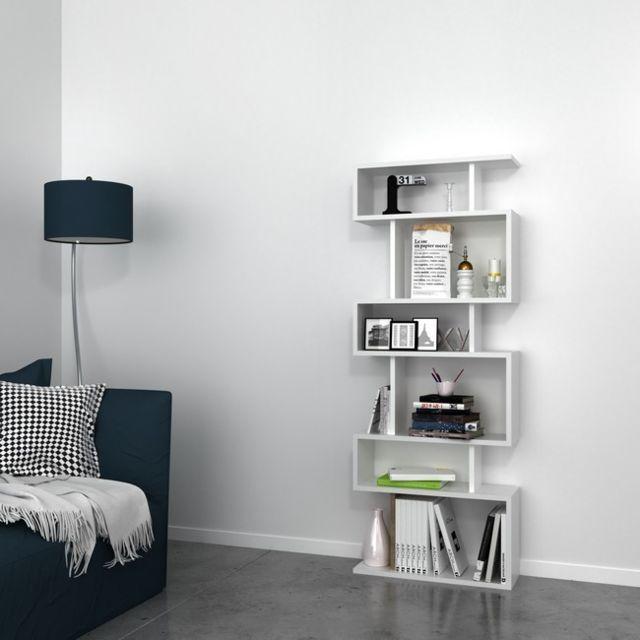 Bibliothèque Tablero Moderne Blanc - Pour Séjour, Salon, Chambre, Bureau -  Livre, Mur