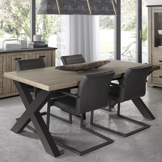 Table 190 cm contemporaine couleur bois et anthracite Lewis