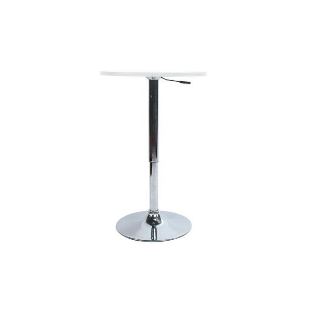 Miliboo Table de bar réglable en hauteur / mange debout Charlie blanc