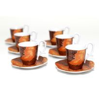 Maison Futée - Service à café en céramique - 6 tasses et 6 soucoupes
