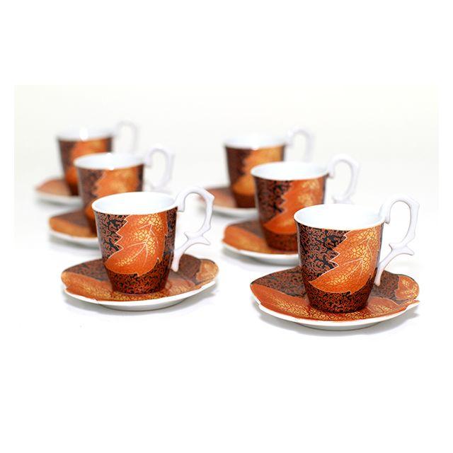 MAISON FUTEE Service à café en céramique - 6 tasses et 6 soucoupes