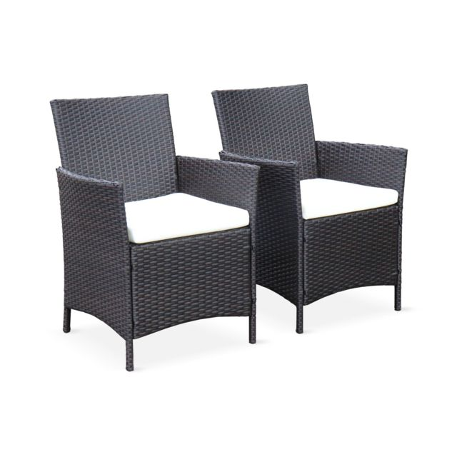 Salon de jardin 6 places - Tavola 6 Marron Chocolat - Résine tressée, table  150cm, coussins écru, 6 fauteuils