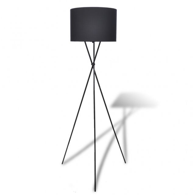 Casasmart Lampe de sol à long trépied Noir