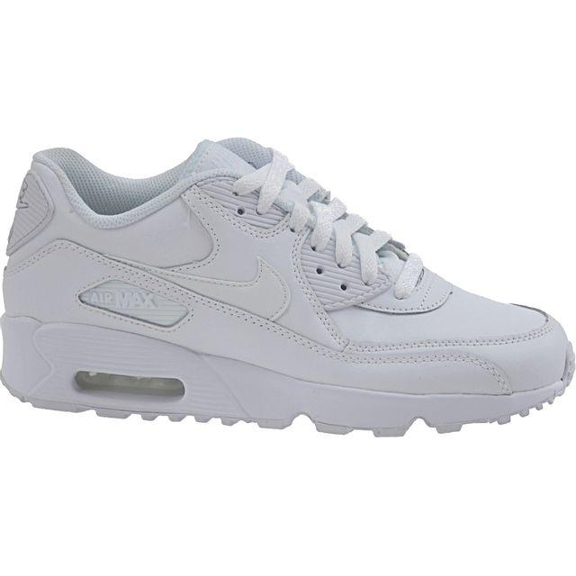 618de6996cc6a Nike - Air Max 90 Ltr Gs 833412-100 Blanc - pas cher Achat   Vente Baskets  enfant - RueDuCommerce