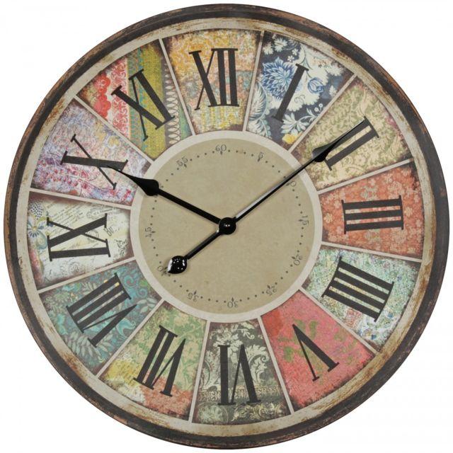 0fd110411a390 COMFORIUM - Horloge murale 60 cm design vintage à chiffres romains en MDF  multicolore collection C