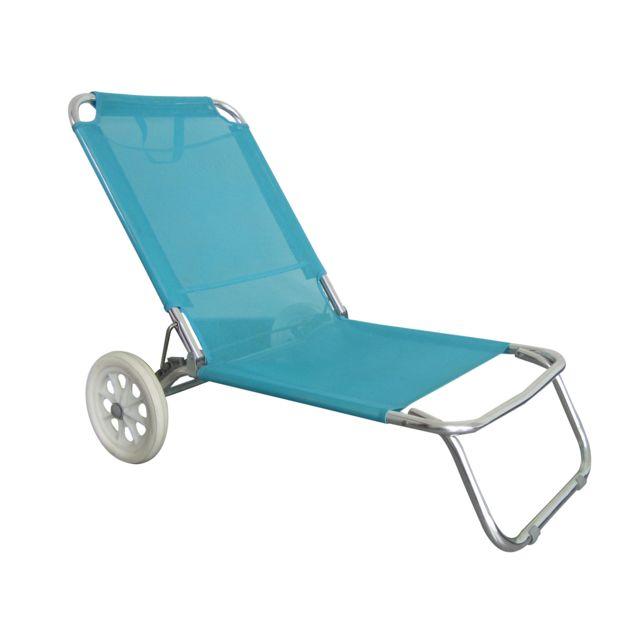 O'BEACH Chaise de plage avec roulettes - Structure Pliable et Confortable
