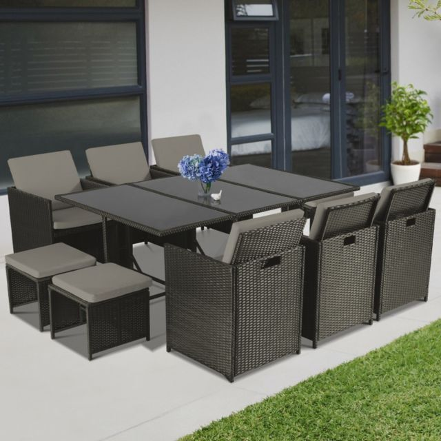 idmarket salon de jardin encastrable merida gris 10. Black Bedroom Furniture Sets. Home Design Ideas