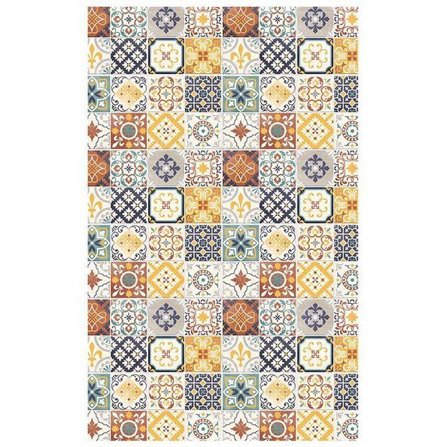 mon beau tapis tapis motifs carreaux de ciment jaune. Black Bedroom Furniture Sets. Home Design Ideas