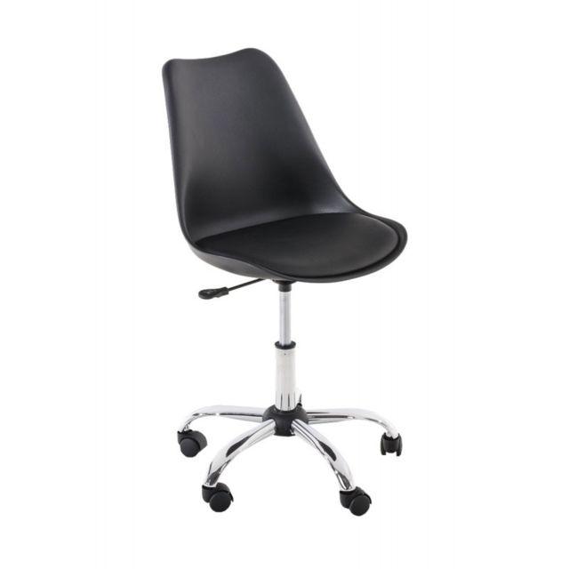 Decoshop26 chaise de bureau tabouret roulette hauteur r glable noir tabo10001 pas cher - Tabouret a roulette reglable en hauteur ...