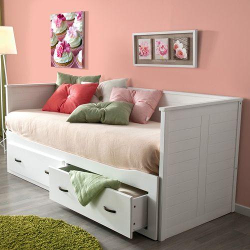 no name banquette lit extensible guest 80 x 200 2 tiroirs blanc pas cher achat vente. Black Bedroom Furniture Sets. Home Design Ideas