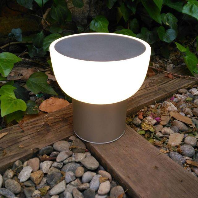 Alma Light Patio - Lampe Led d'extérieur rechargeable Argent Ø16cm - Lampe à poser designé par Oriol Llahona