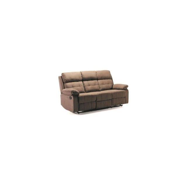 Sans Marque Fargo Canape 3 Places 2 Relax Electriques - Tissu Marron - L 193 X P 93 X H 101 Cm
