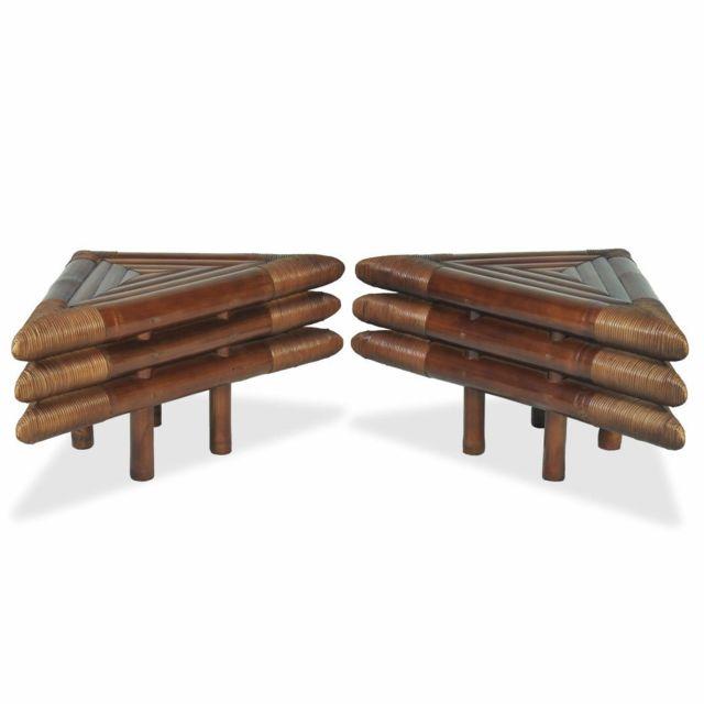 Icaverne - Chevets famille Table de chevet 2 pcs 60 x 60 x 40 cm Bambou Marron foncé