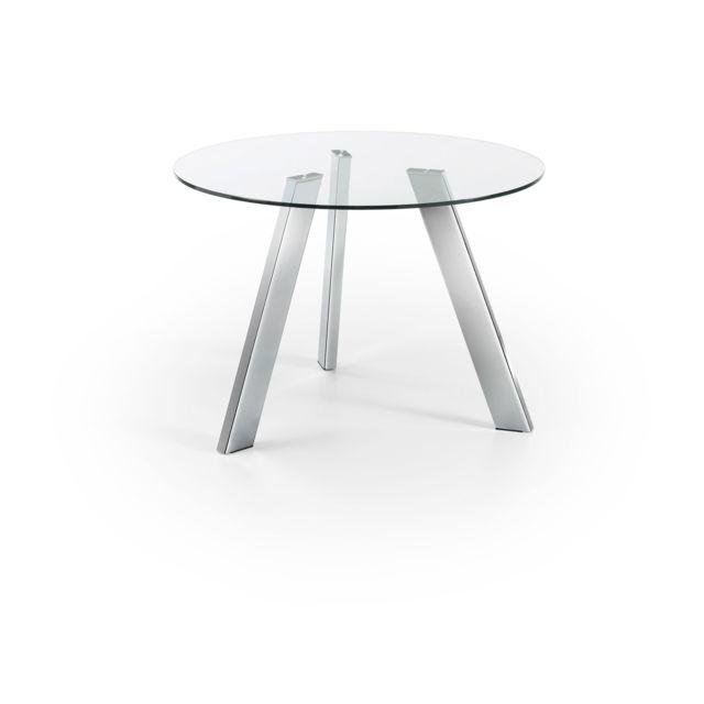 Kavehome Table Carib 110 cm, argent et verre