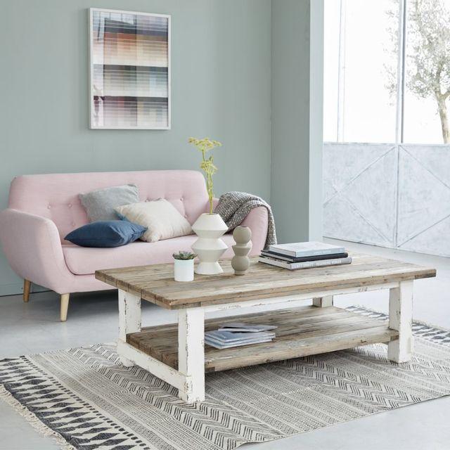 bois dessus bois dessous table basse en pin recycl 140 x 80 cm double plateau atlantic. Black Bedroom Furniture Sets. Home Design Ideas