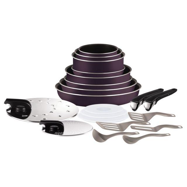 TEFAL INGENIO ESSENTIAL - Set de cuisine 20 pièces - Cassis - L2029702