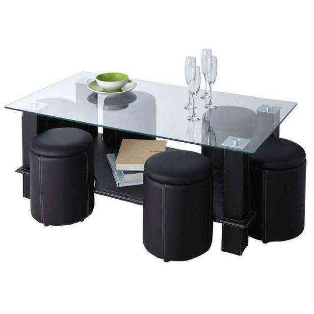 Import&DIFFUSION Table Basse 130 cm Verre / Simili Noir + 6 Poufs ? Coloris Noir