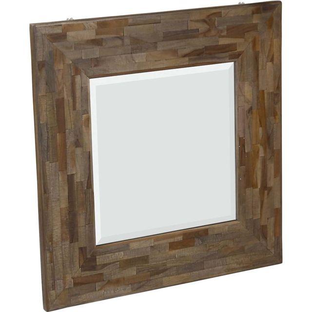 ZAGO Miroir carré avec cadre en teck recyclé Woody