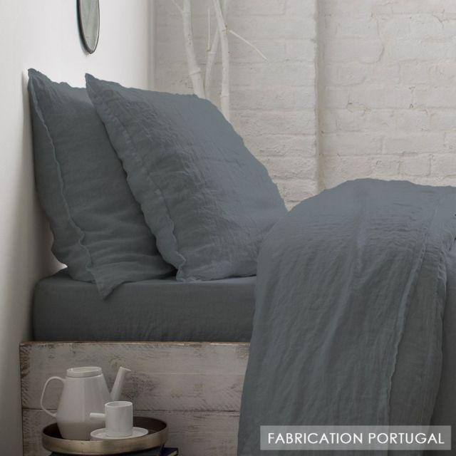 drap housse 140x200 gris Soldes Selene Et Gaia   Drap housse en lin lavé gris anthracite  drap housse 140x200 gris