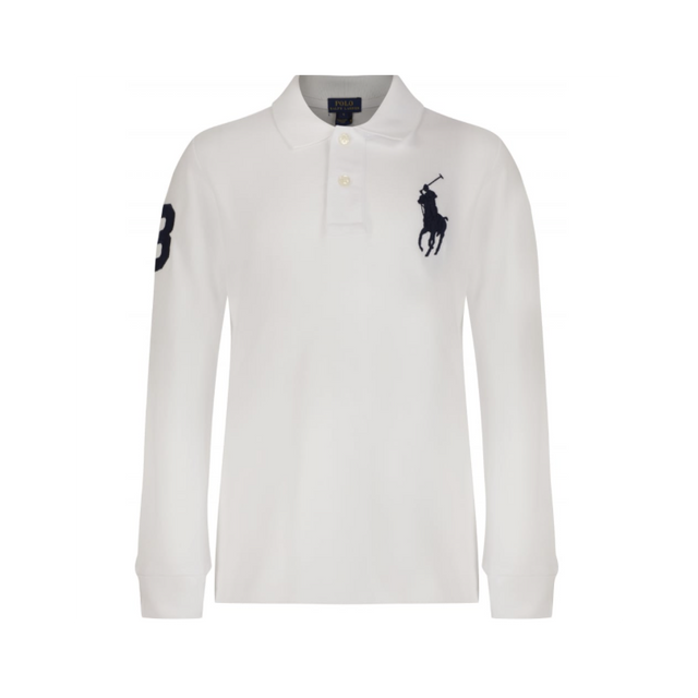 Ralph Lauren - Polo Blanc Manches Longues Big Poney - pas cher Achat    Vente Polo homme - RueDuCommerce a0260092a90