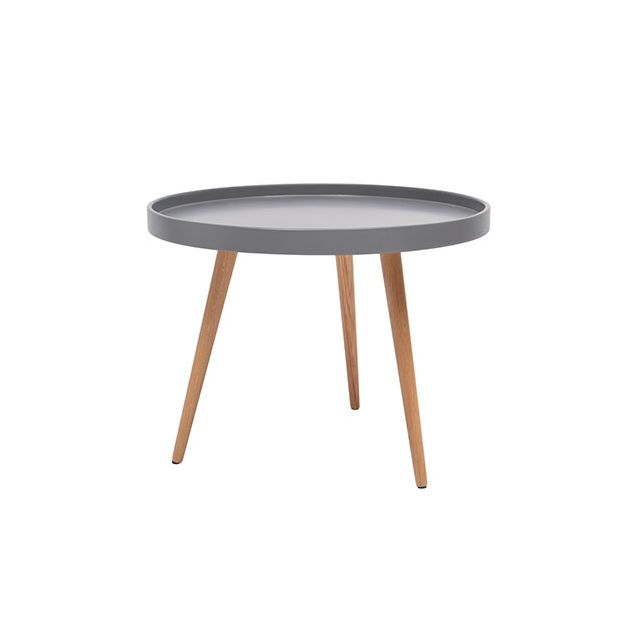 Table basse ronde 60diam en bois gris