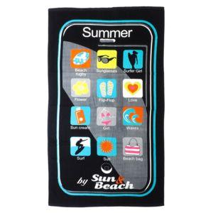 culture sud serviette de bain drap de plage summertime180 100cm coton noir 30079 180cm x 100cm. Black Bedroom Furniture Sets. Home Design Ideas