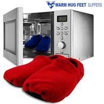 Totalcadeau - Chaussons chauffants à passer au micro-ondes rouge