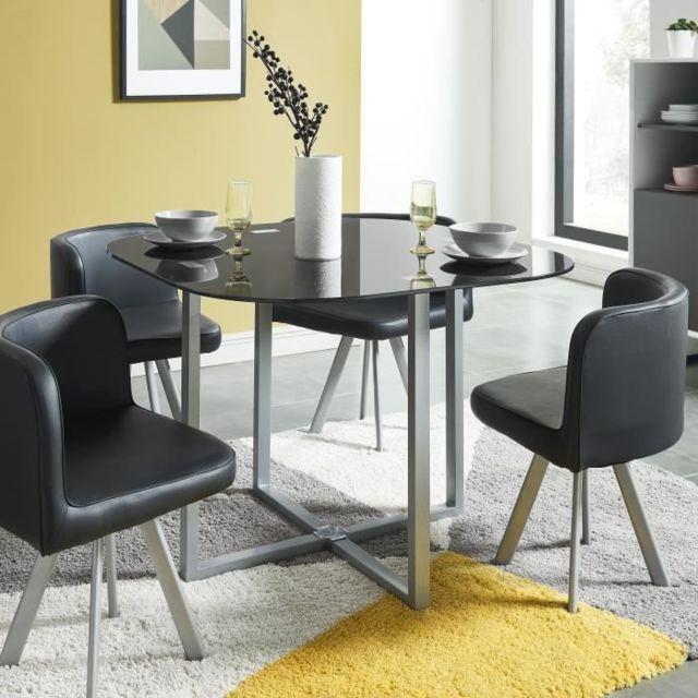 TABLE A MANGER AVEC CHAISES COSMIC Ensemble table a manger de 2 a 4 personnes + 4 chaises contemporain en métal laqué et