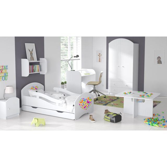 Mpc Lit enfant Blanc avec barri?res, matelas stickers Papillons 160 x 80