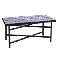 Table basse d\'extérieur Fer et carreaux de ciment - Madhou