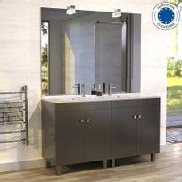 Creazur - Meuble salle de bain ÉCOLINE 140 double vasque résine – Gris brillant