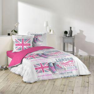 douceur d 39 interieur housse de couette girly london 220x240cm avec taies d 39 oreillers 100 coton. Black Bedroom Furniture Sets. Home Design Ideas