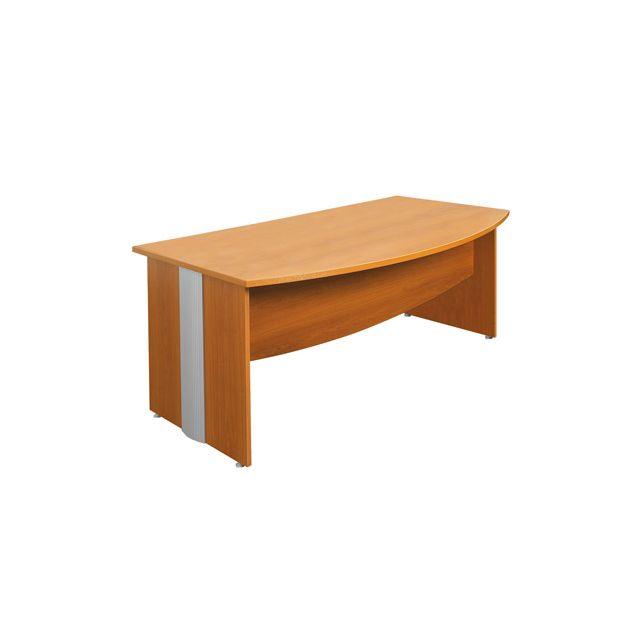 bureau professionnel courbe 180x100 cm coloris merisier et. Black Bedroom Furniture Sets. Home Design Ideas