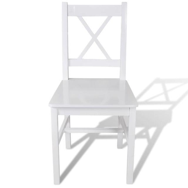 Chaises de salle à manger 2 pcs Blanc Bois de pin
