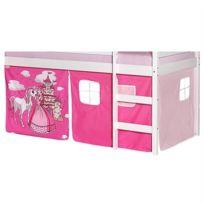 IDIMEX - Lot de rideaux cabane pour lit surélevé superposé mi-hauteur mezzanine tissu coton motif princesse rose