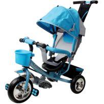 Justdeco - Superbe Enfants Tricycle Race Ligne métallique avec tige de poussée et un parapluie - Bleu Neuf