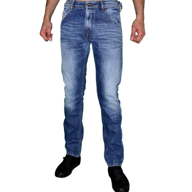 diesel jean homme krayver 817c regular slim carrot bleu delav javel w31 l30 pas. Black Bedroom Furniture Sets. Home Design Ideas