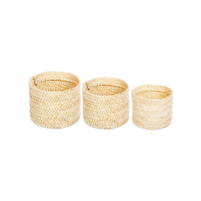 "Atmosphera - Lot de 3 paniers ronds ""Blanc Originel"