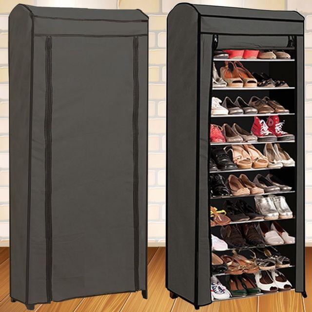Idmarket Étagère range <strong>chaussures</strong> 30 paires eco avec housse grise