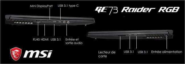 MSI GE73 - Réseau et connectique