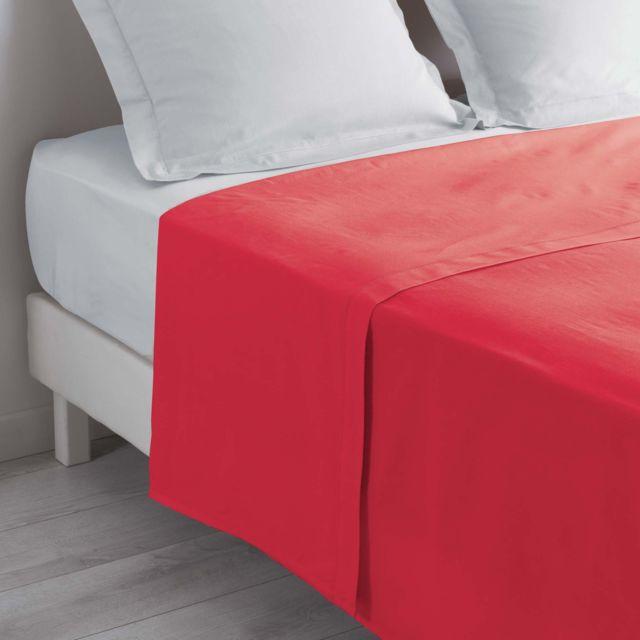 douceur d 39 interieur cdaffaires drap plat 2 personnes 240 x 300 cm uni 57 fils lina rouge 300cm. Black Bedroom Furniture Sets. Home Design Ideas