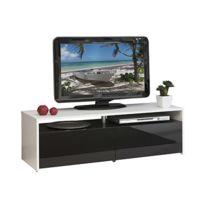- Meuble tv blanc noir 2 tiroirs - noir laqué