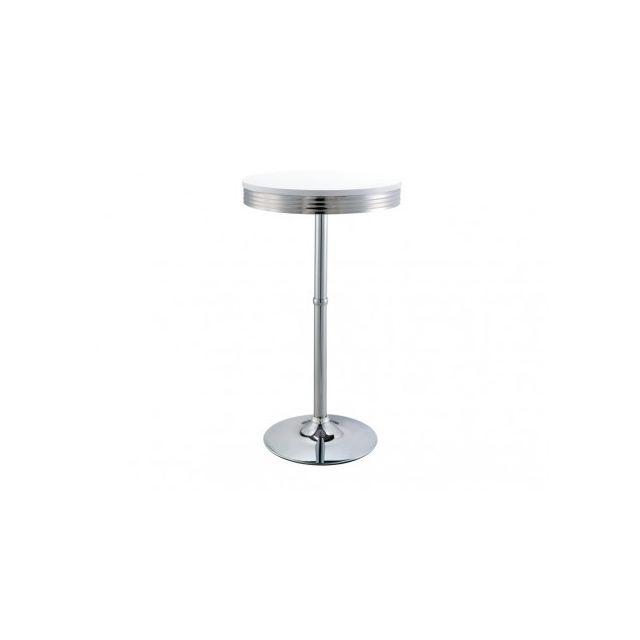 Marque Generique Table haute Sanders - 2 couverts - Mdf et pieds métal - Coloris blanc