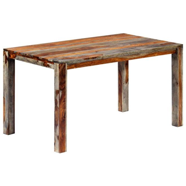 Admirable Tables categorie Bandar Seri Begawan Table de salle à manger Gris 140x70x76 cm Bois de Sesham solide