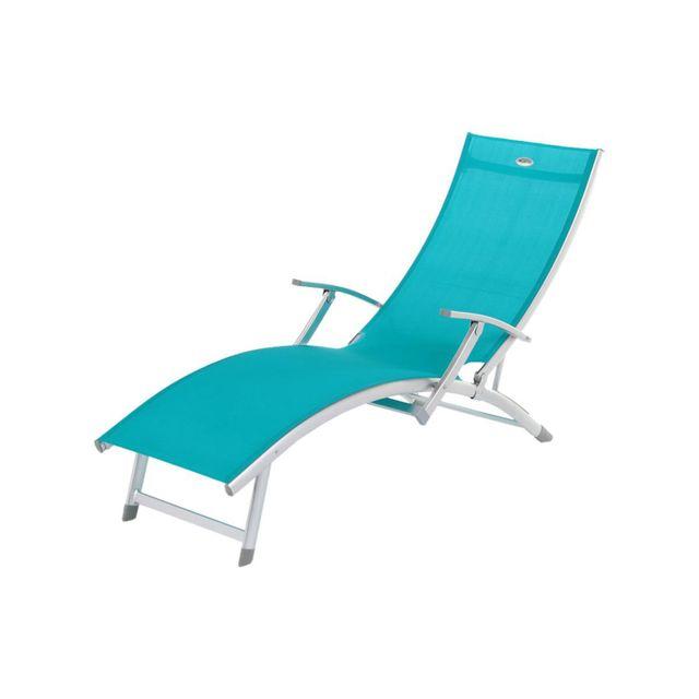 Cotedetente Transat / Chaise longue 4 positions Ibiza - Aluminium - Bleu lagon