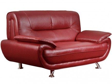 Canapé 2 places en simili NIGEL - Rouge