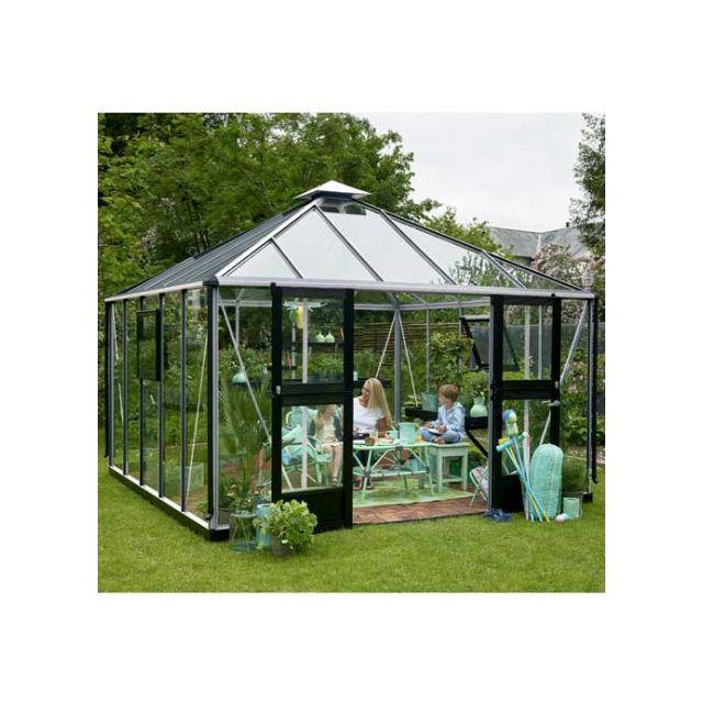 Atout Loisir Serre en verre trempé Oasis 13.5 m², Couleur Silver, Base Sans base - longueur : 0