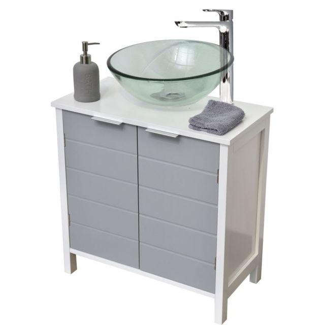 Tendance le depot bailleul meuble sous lavabo salle de bain gris et blanc pas cher achat - Achat lavabo salle de bain ...