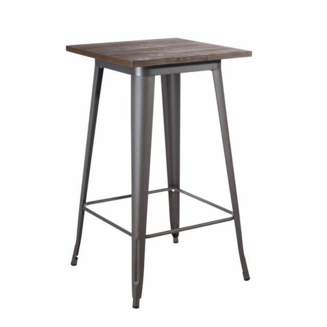 Ma Maison Mes Tendances Table haute carrée 60 cm en bois et métal gris Camelia - L 60 x l 60 x H 103